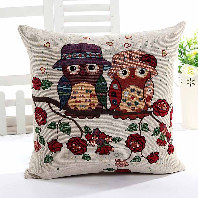 Yarn Dyed Jacquard birds in hat cushion pillow cover sofa chair seat cushion cover home decorative