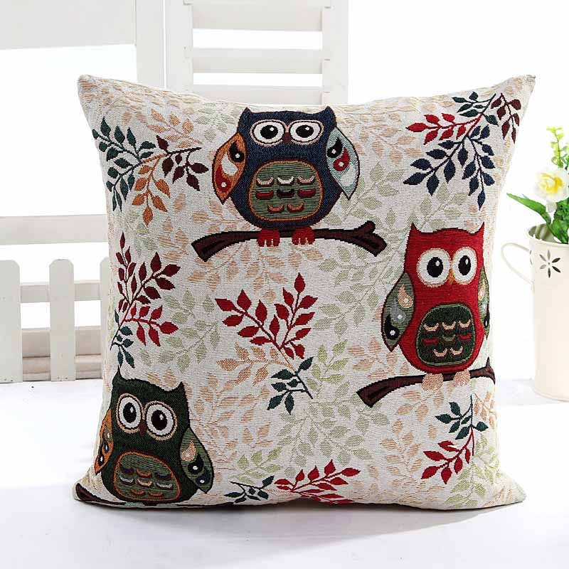 Yarn Dyed Jacquard 3 owls home decorative cushion pillow cover sofa chair seat cushion cover
