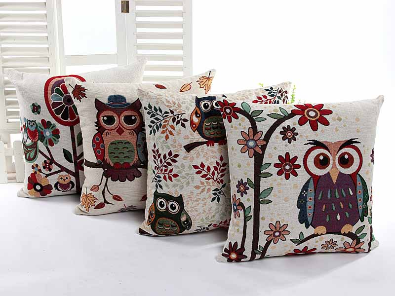 Yarn Dyed Jacquard 2 lovely owls home decorative cushion pillow cover sofa chair seat cushion cover