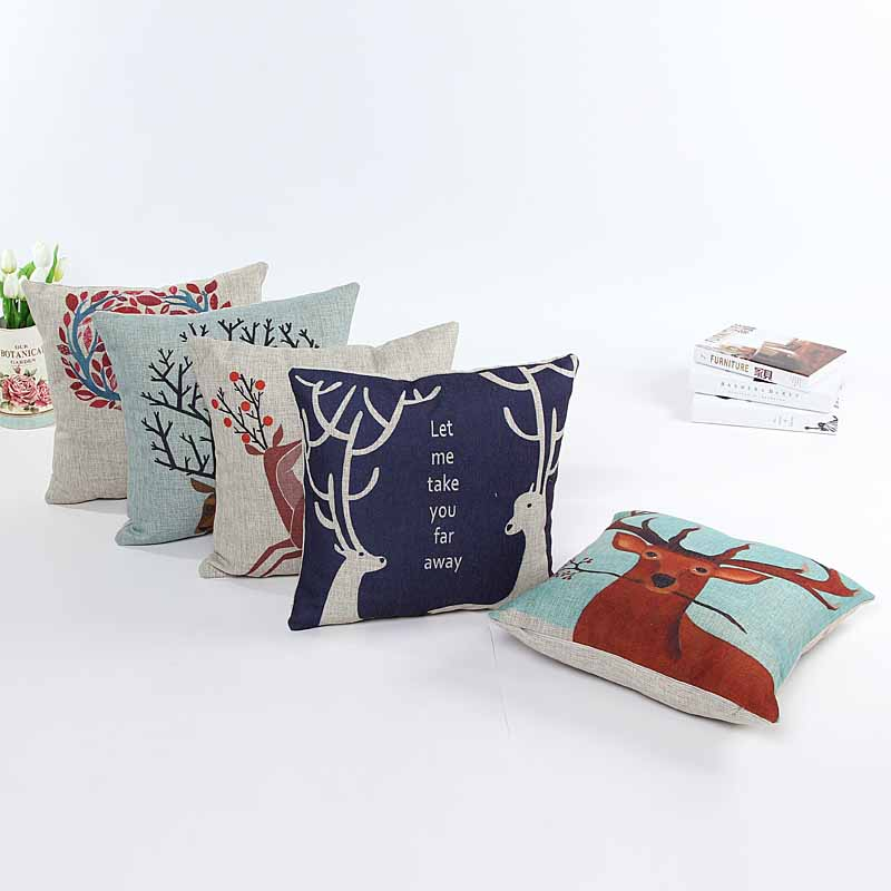 Linen mi-lu dear cushion pillow cover sofa chair seat cushion cover Xmas home decorative