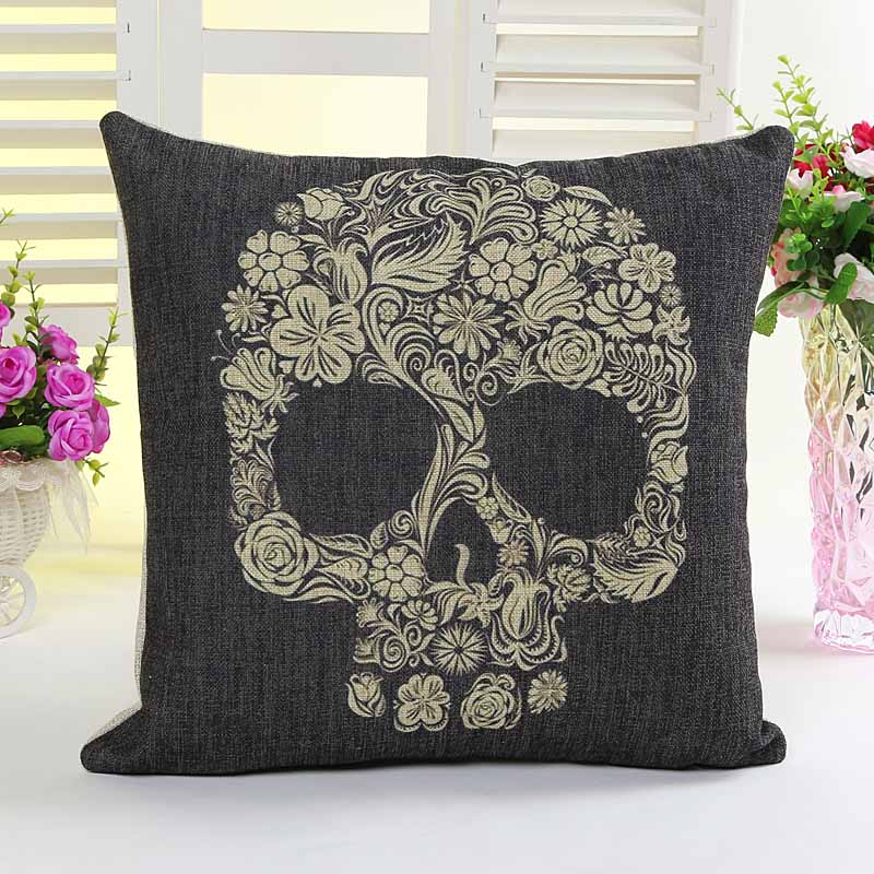 Black Skull Skeleton printed cushion pillow cover sofa chair seat cushion cover home decorative