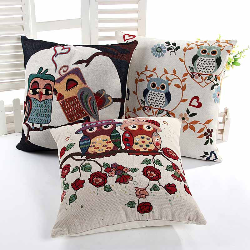 Yarn Dyed Jacquard lovely big owl cushion pillow cover sofa chair seat cushion cover home decorative