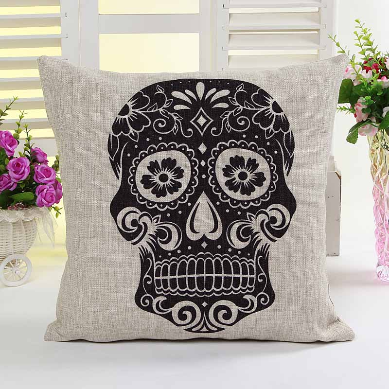 Black Skull Skeleton printed home decorative cushion pillow cover sofa chair seat cushion cover