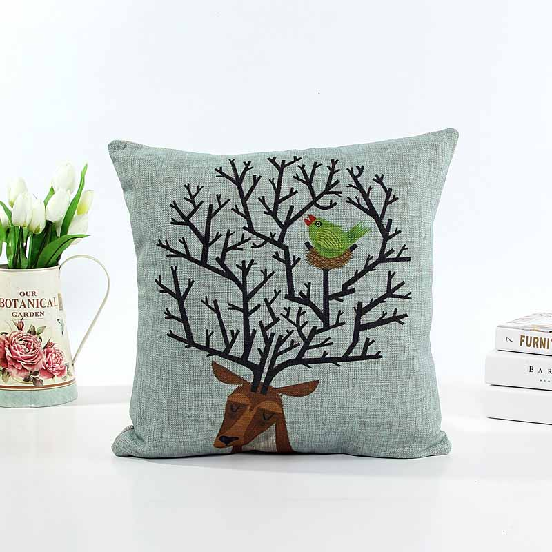 Linen cushion pillow cover mi-lu dear sofa chair seat cushion cover Christmas gift home decorative