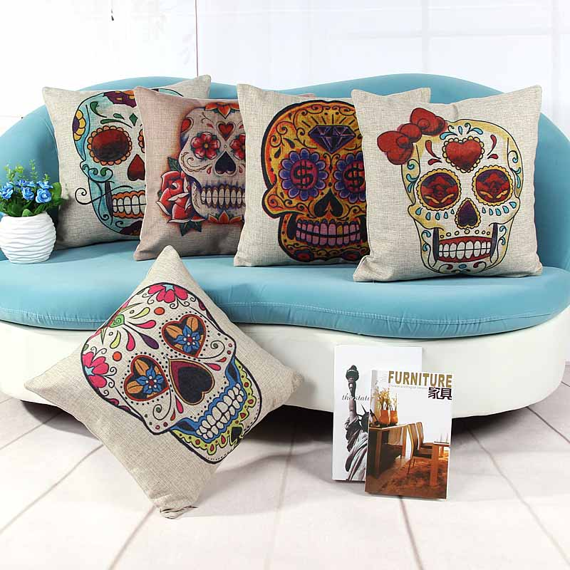 Linen cushion pillow cover flower skull skeleton print sofa chair seat cushion cover home decorative