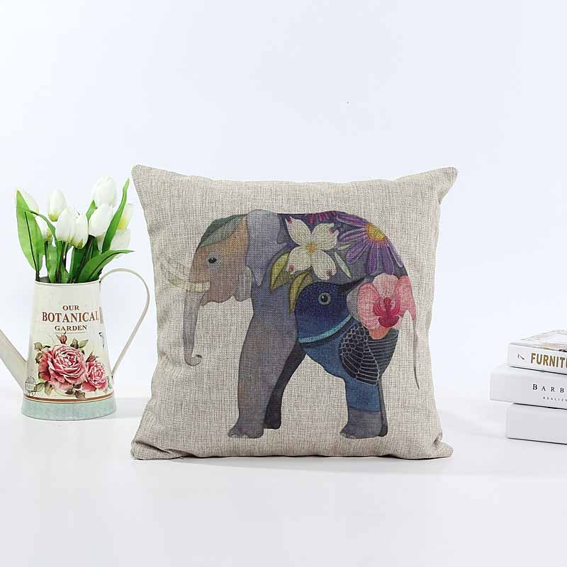 Linen cushion pillow cover lady elephant sofa chair seat cushion cover Xmas gift home decorative