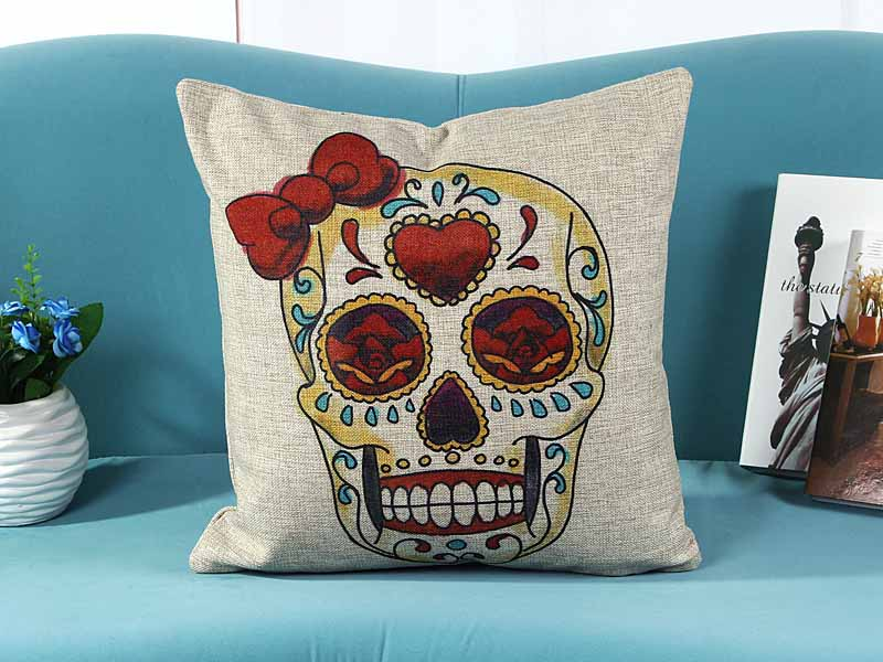 home decorative cushion pillow cover suger skull skeleton bow print sofa chair seat cushion cover