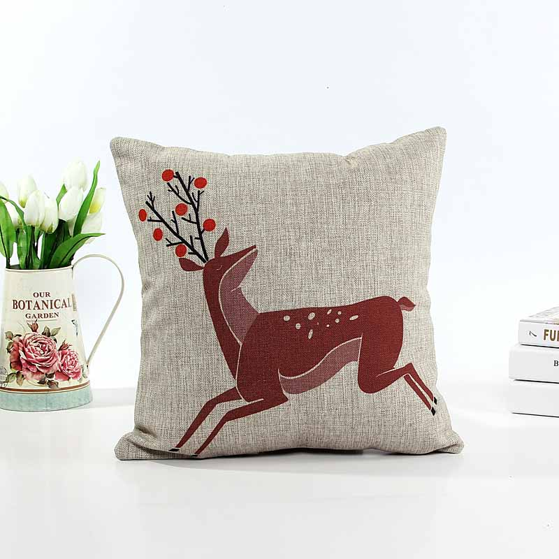 Linen cushion pillow cover red mi-lu dear sofa chair seat cushion cover Xmas gift home decorative