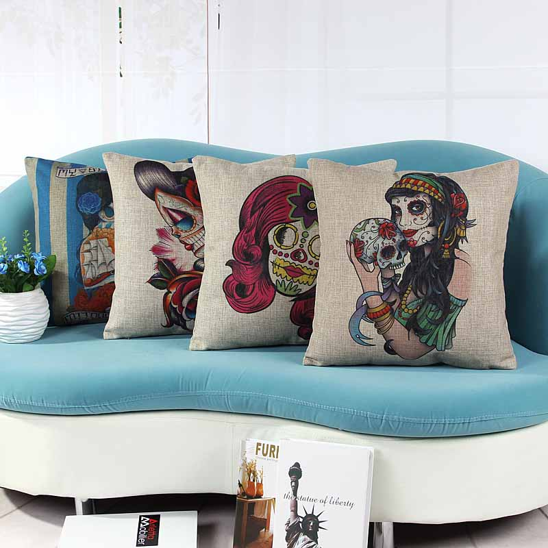 home decorative cushion pillow cover skull skeleton tatoo printed sofa chair seat cushion cover