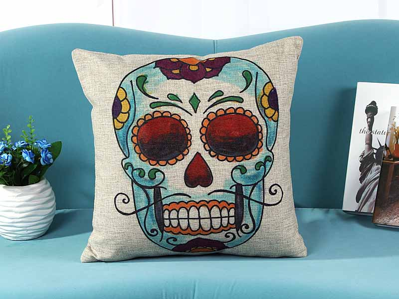 Linen cushion pillow cover loved skull skeleton print sofa chair seat cushion cover home decorative