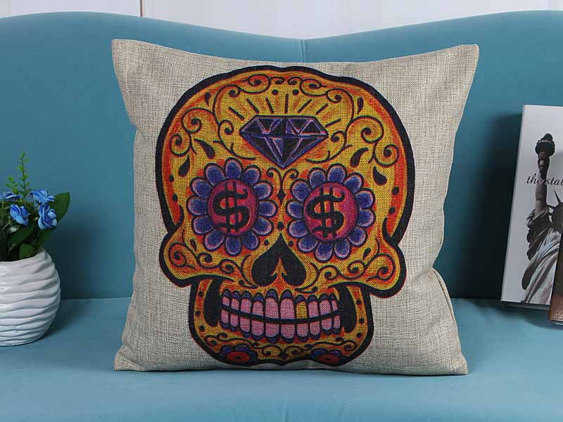 home decorative cushion pillow cover gold diamond skull skeleton print sofa chair seat cushion cover