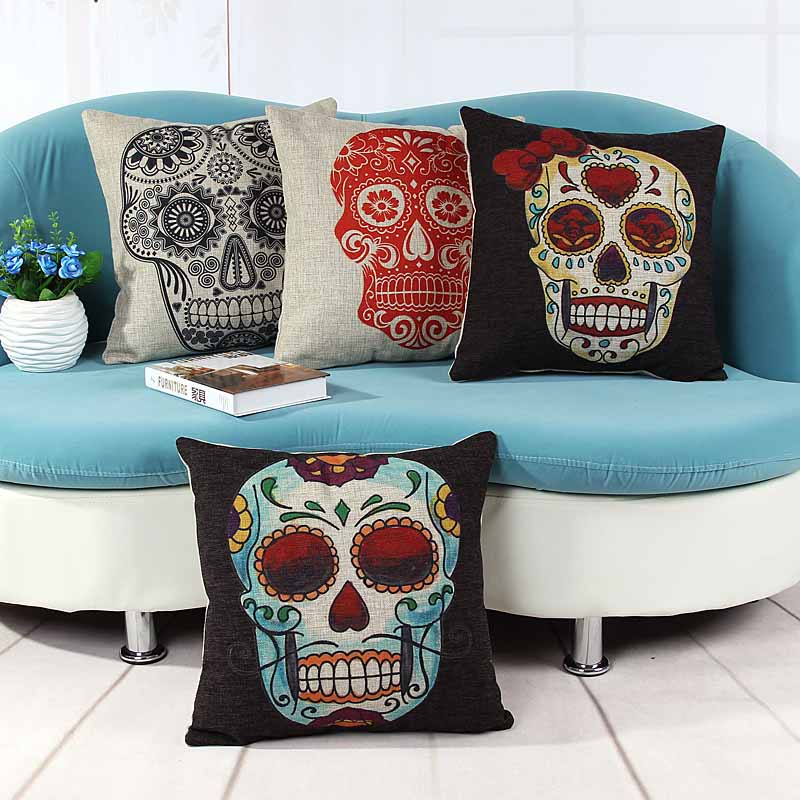 home decorative cushion pillow cover black&white skull skeleton print sofa chair seat cushion cover