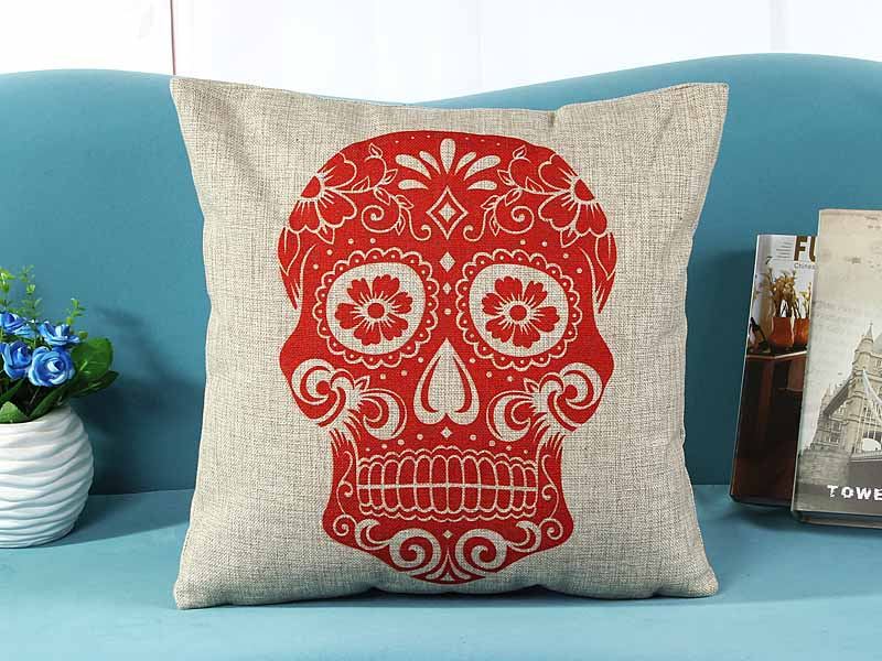 home decorative cushion pillow cover red skull skeleton print sofa chair seat cushion cover