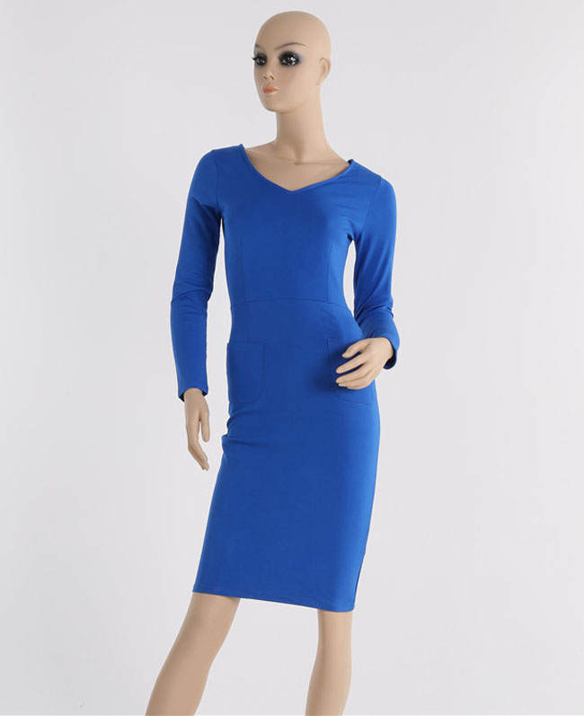 Fashion Star style V neck long sleeve elegance long zipper dress bodycon dress
