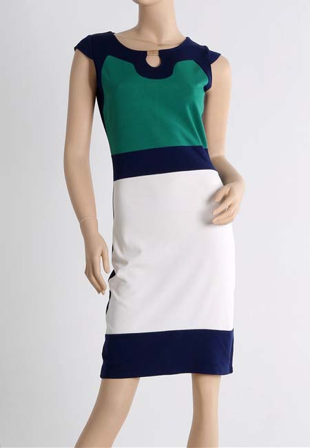 Fashion Star style Classic baroque color contrast slim dress