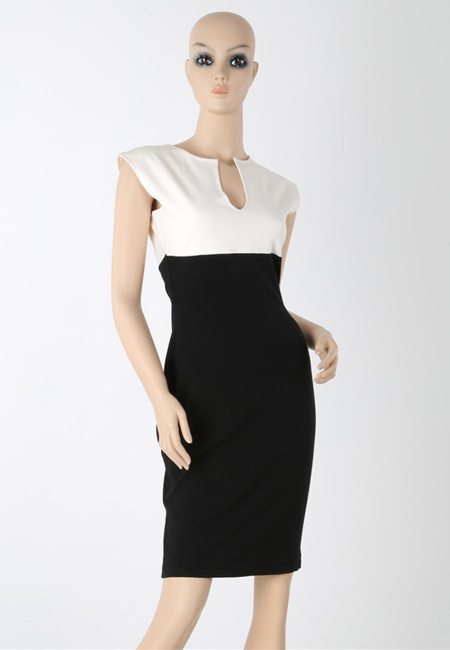 Fashion Star style Classic color contrast slim bodycon dress