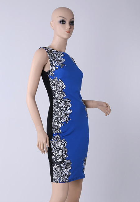 Fashion Star style Black/Blue classic sleeveless slim bodycon Floral printed dress