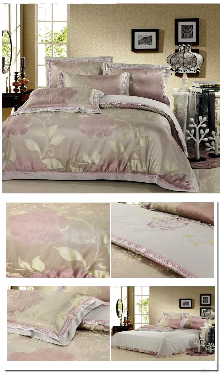 Fashion Home Textile 4 pcs Silk Floral Jacquard bedding sets bed cover duvet cover