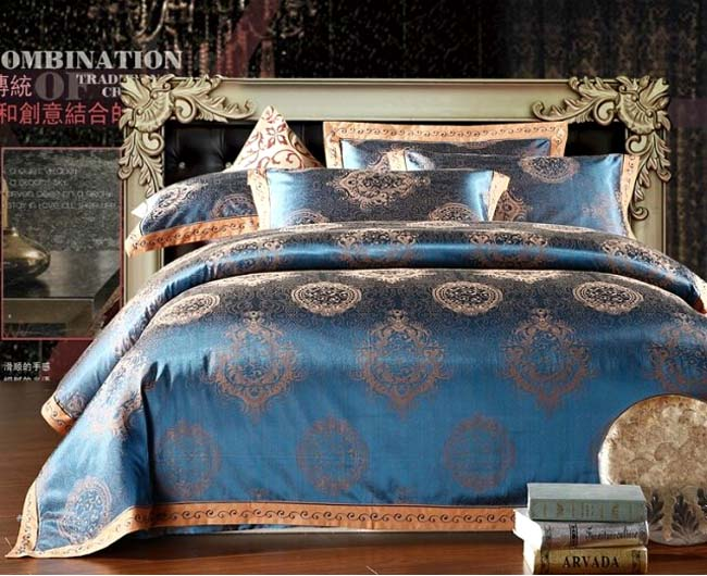 Home Textile 4 pcs Silk Jacquard bedding sets Blue Retro Style bed cover duvet cover