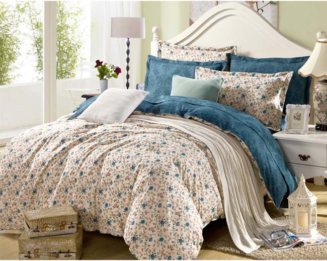 Home Textile Small Floral Printed 4 pcs Cotton bedding sets pastoral style bed sheet duvet cover