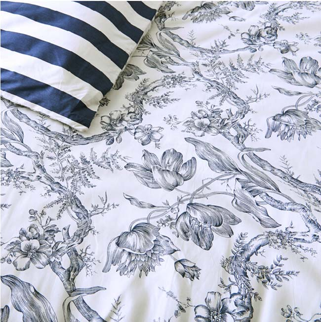 Home Textile Navy Floral Printed European style 4 pcs Cotton bedding sets bed sheet duvet cover