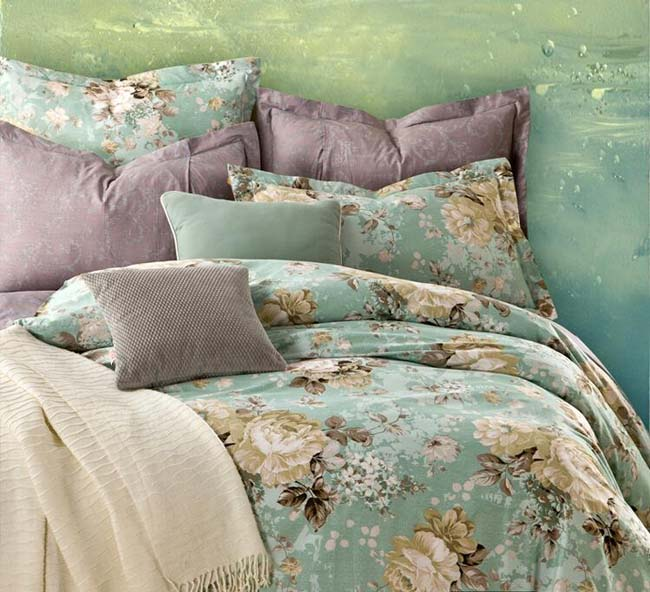 Home Textile Green Floral Romatic 4 pcs Cotton bedding sets bed sheet duvet cover