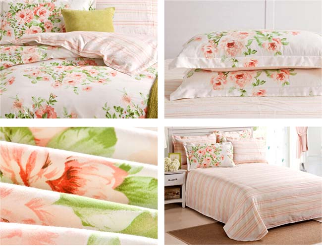 Home Textile Lovely Spring Floral printed 4 pcs Cotton bedding sets bed sheet duvet cover