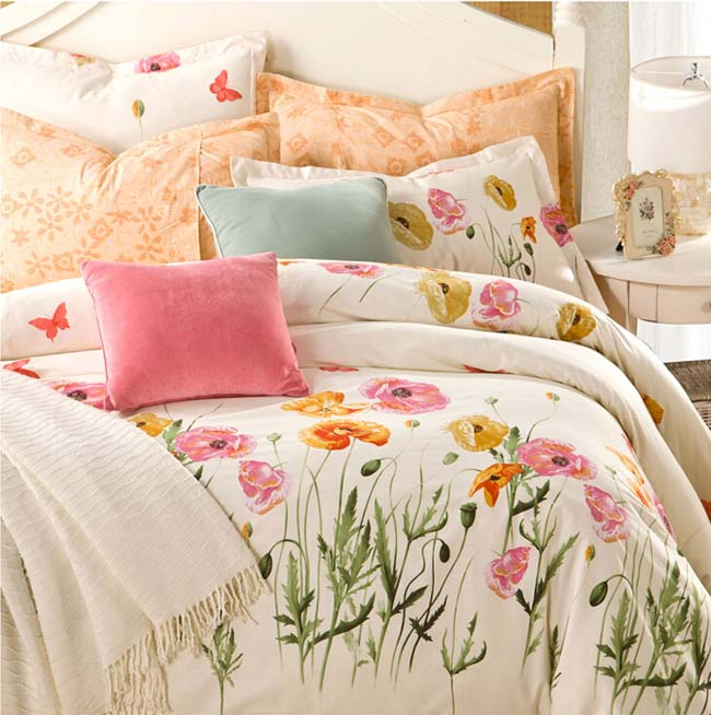 Home Textile Lovely Floral printed Romatic Beige 4 pcs Cotton bedding sets bed sheet duvet cover
