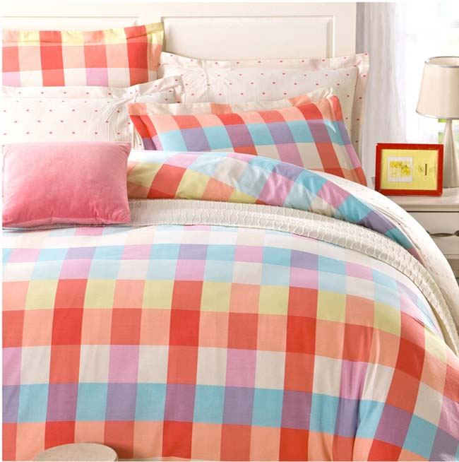 Home Textile Lovely Rainbow Checks printed 4 pcs Cotton bedding sets bed sheet duvet cover