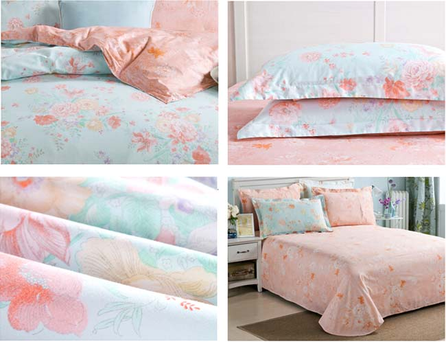 Home Textile Light Blue Floral printed 4 pcs Cotton bedding sets bed sheet duvet cover