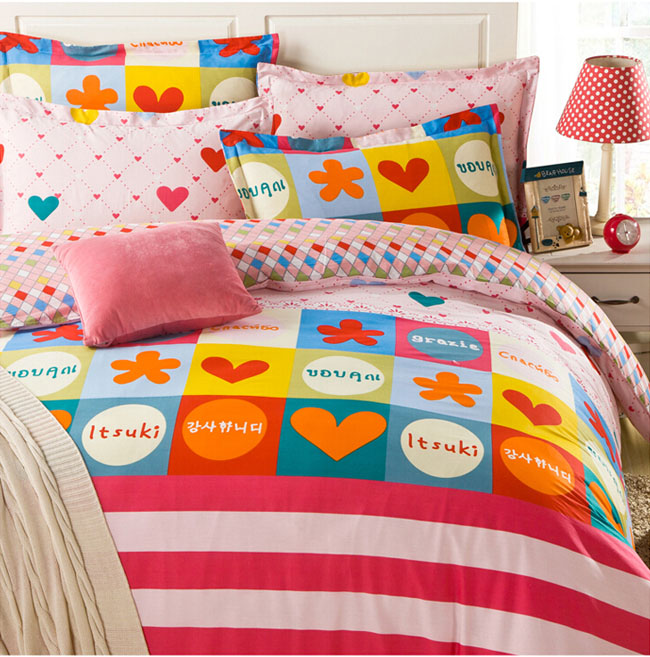 Home Textile Colorful girl's bedding 4 pcs Cotton bedding sets bed sheet