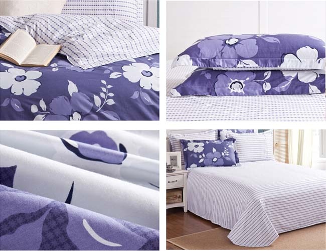Home Textile Winter Blue Floral AB side printed 4 pcs Cotton bedding sets bed sheet duvet cover
