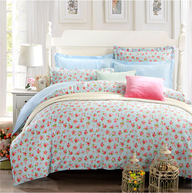Home Textile Light blue Small Floral printed Pastoral 4 pcs Cotton bedding sets bed sheet