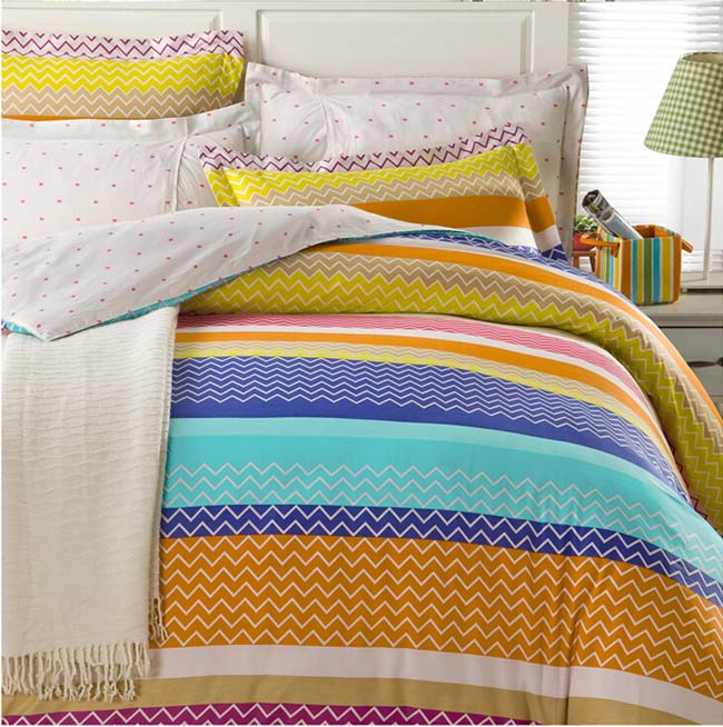 Home Textile Winter Orange Striped printed 4 pcs Cotton bedding sets bed sheet duvet cover