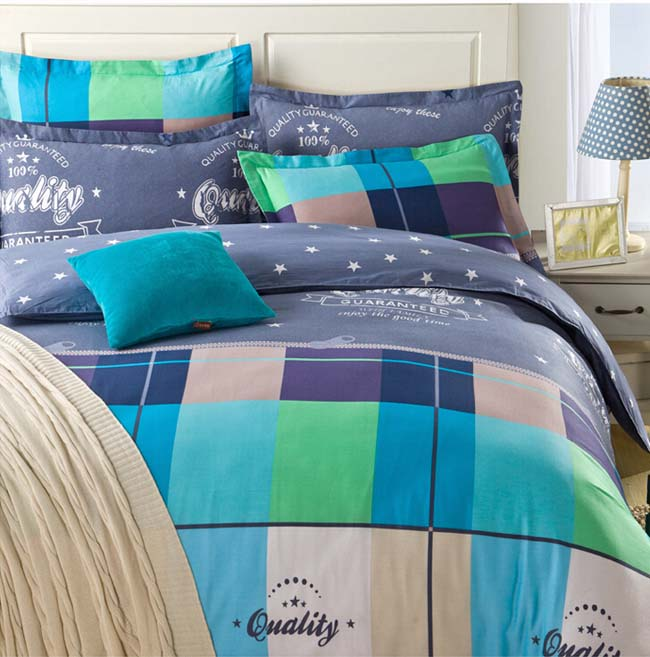 Home Textile Winter Blue& Green Checks printed 4 pcs Cotton bedding sets bed sheet duvet cover