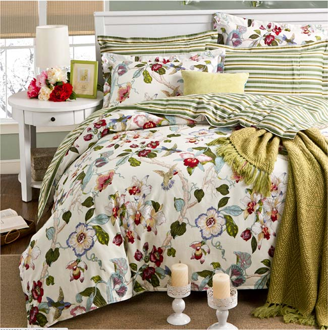 Home Textile Green Floral printed Spring 4 pcs Cotton bedding sets bed sheet duvet cover