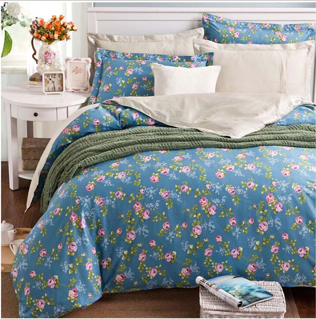 Home Textile Winter Blue Floral Europe Pastoral AB side printed 4 pcs Cotton bedding sets bed sheet duvet cover