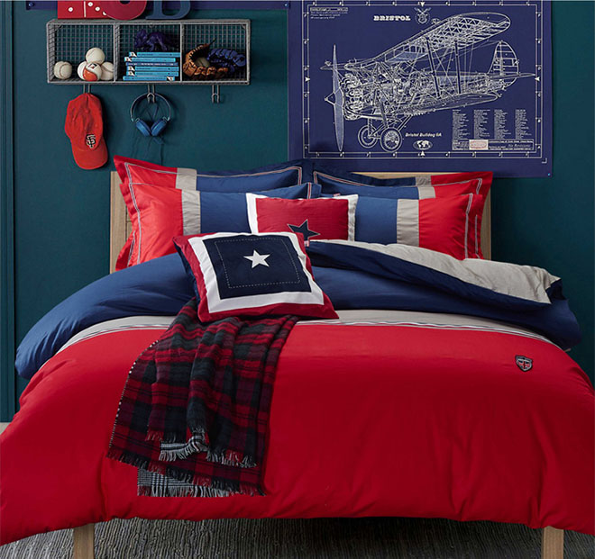 Home Textile 100% cotton stripes British style Modern brief bedding set designer 4pcs bed sheet/duvet cover king/queen dropship