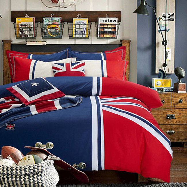 wholesale fashion British flag style Brief bed sheet duvet cover pillowcase home textile bedding sets