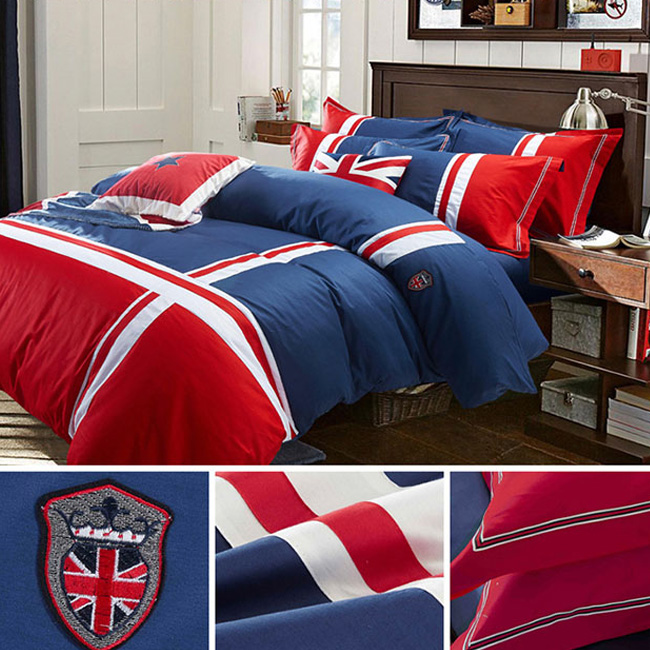 wholesale bedding sets fashion British flag style Brief bed sheet duvet cover pillowcase home textile