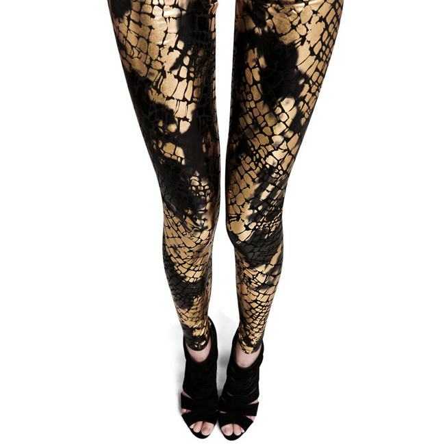 High Quality women leggings 2015 new fashion sexy Gold Black Snake printed Faux leather Woman leggings dropship Wholesale Gift