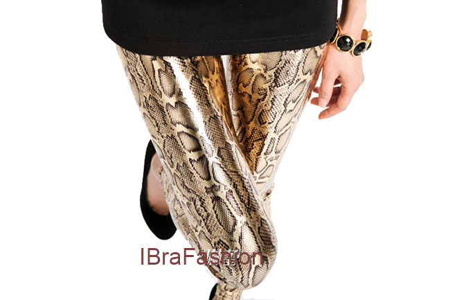 NEW 2015 Factory wholesale Sexy Fashion Gold Snake tregging women ladies femme slim leggings pants dropship 545