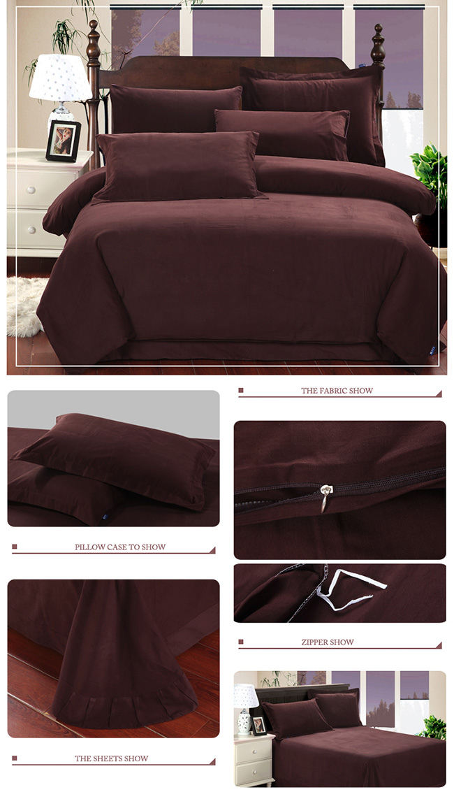 Wholesale 2015 Fashion Coffee Sanding Cotton Bedding Sets Bed Sheet Duvet Cover Home Textile