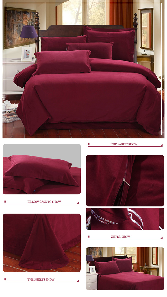 Wholesale 2015 Fashion Red Sanding Cotton Bedding Sets Bed Sheet Duvet Cover Home Textile