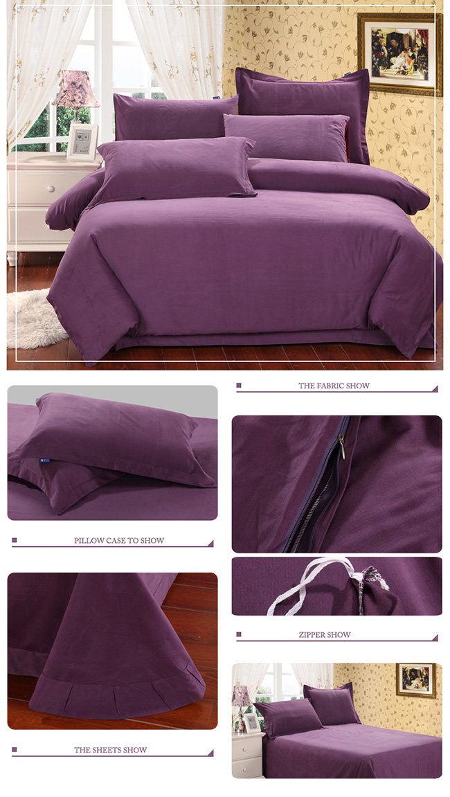 Wholesale 2015 New Purple Cotton Sanding Bedding Sets Bed Sheet Duvet Cover Beddings Home Textile