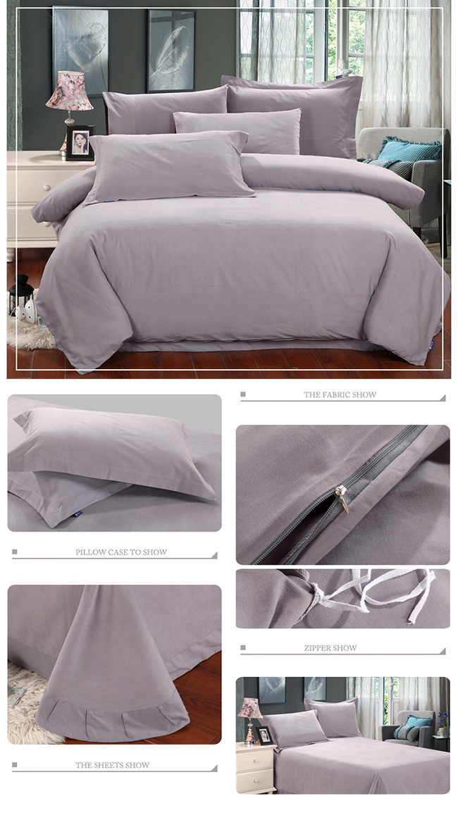 Wholesale Bedding Sets 2015 New Grey Cotton Sanding Bed Sheet Duvet Cover Beddings Home Textile