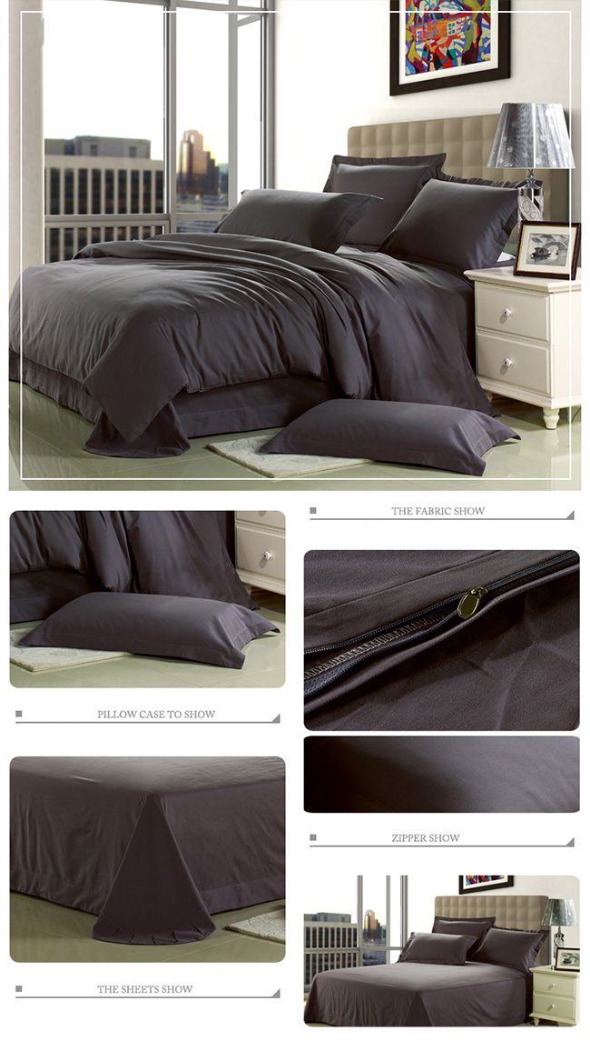 Wholesale 2015 New Dark Grey Sanding Cotton Bedding Sets Bed Sheet Duvet Cover Home Textile