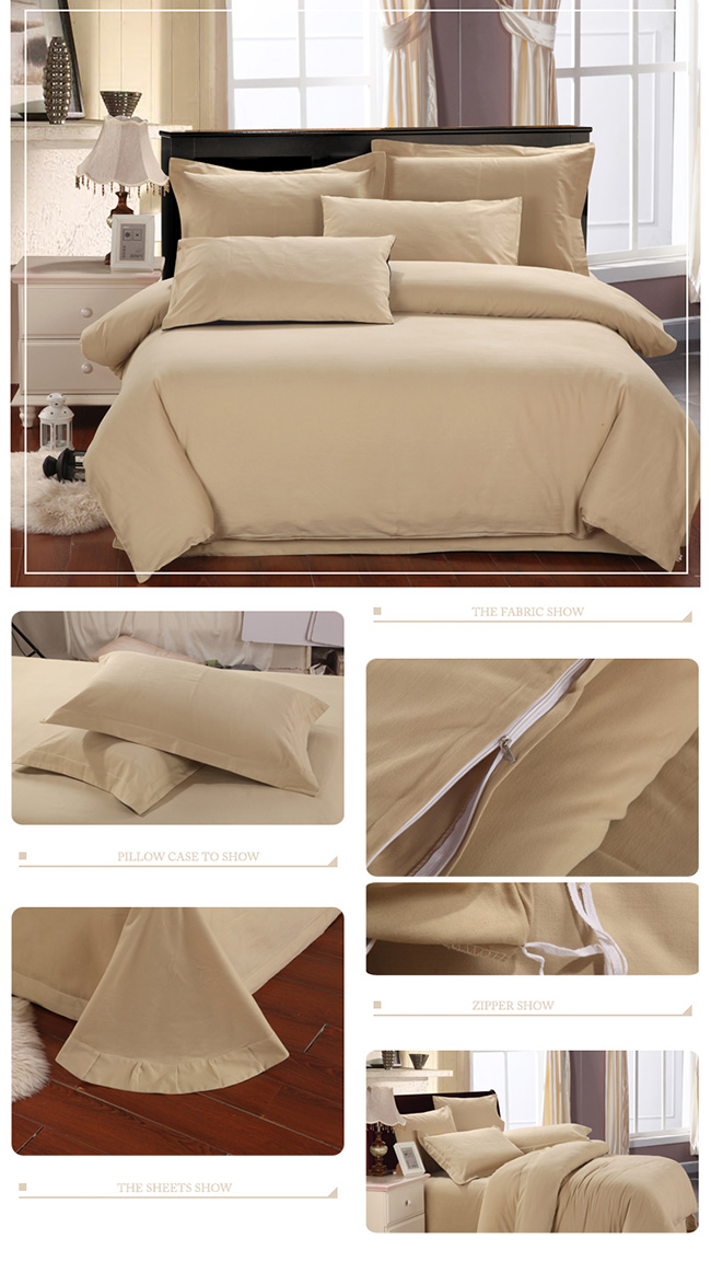 Wholesale 2015 Fashion Cream-colored Sanding Cotton Bedding Sets Bed Sheet Duvet Cover Home Textile