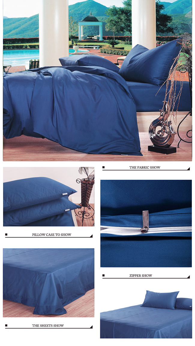 Wholesale 2015 New Dark Blue Sanding Cotton Bedding Sets Bed Sheet Duvet Cover Beddings Home Textile