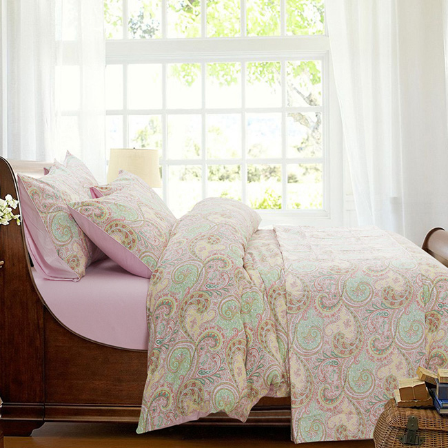 Wholesale 2015 New Pink Flowers Printed Europe Bed Sheet Duvet Cover Bedding Sets Home Textile